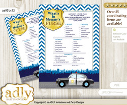Boy Police What is in Mommy's Purse, Baby Shower Purse Game Printable Card , Sheriff,  Chevron