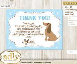 Boy Dog Thank you Printable Card with Name Personalization for Baby Shower or Birthday Party