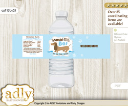 Boy Dog Water Bottle Wrappers, Labels for a Dog  Baby Shower, Sausage, Blue