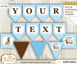 Personalized Boy Dog Printable Banner for Baby Shower, Sausage, Blue