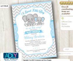 Grey and Baby Blue Elephant Chevron Invitation for a Boy
