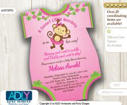 Pink Girl Monkey Oneies Invitation, Swinging Girl Monkey, lime green