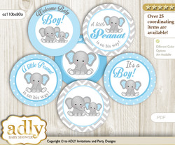 Shower Boy Elephant Cupcake Toppers Printable File for Little Boy and Mommy-to-be, favor tags, circle toppers, Chevron, Blue Grey
