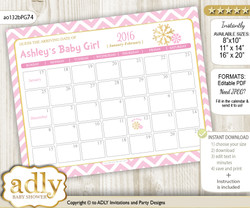 Girl Snowflake Baby Due Date Calendar, guess baby arrival date game
