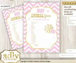 Printable Girl Snowflake Baby Animal Game, Guess Names of Baby Animals Printable for Baby Snowflake Shower, Pink Gold, Chevron