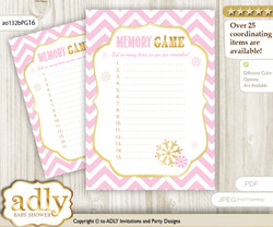 Girl Snowflake Memory Game Card for Baby Shower, Printable Guess Card, Pink Gold, Chevron