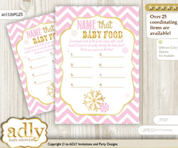 Girl Snowflake Guess Baby Food Game or Name That Baby Food Game for a Baby Shower, Pink Gold Chevron