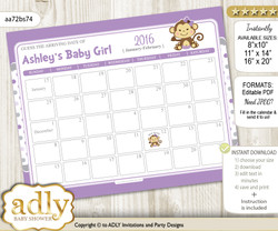Girl Monkey Baby Due Date Calendar, guess baby arrival date game