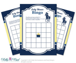 navy yellow Polo Bingo Game Printable Card for Baby Boy Shower DIY grey, navy yellow sport shower - ONLY digital file
