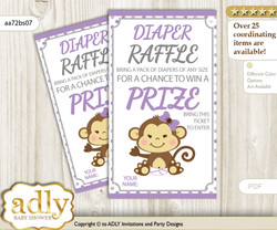 Girl Monkey Diaper Raffle Printable Tickets for Baby Shower, Purple Grey, Polka
