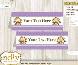 Printable Girl Monkey Buffet Tags or Food Tent Labels  for a Baby Shower or Birthday , Purple Grey, Polka