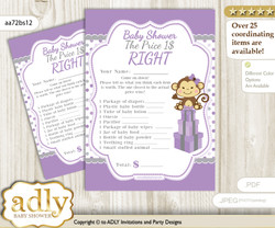 Printable Girl Monkey Price is Right Game Card for Baby Monkey Shower, Purple Grey, Polka