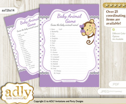Printable Girl Monkey Baby Animal Game, Guess Names of Baby Animals Printable for Baby Monkey Shower, Purple Grey, Polka