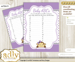 Girl Monkey Baby ABC's Game, guess Animals Printable Card for Baby Monkey Shower DIY – Polka