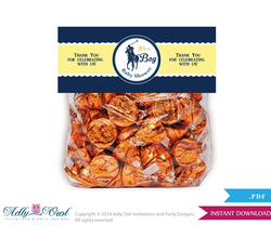 Boy Polo Treat Goodie bag Toppers Printable for Baby Boy Shower or Birthday DIY navy yellow, sport shower