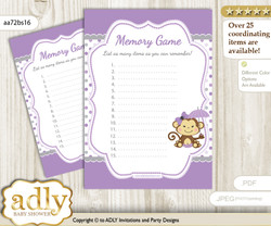 Girl Monkey Memory Game Card for Baby Shower, Printable Guess Card, Purple Grey, Polka