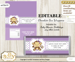 Personalizable Girl Monkey Chocolate Bar Candy Wrapper Label for Girl  baby shower, birthday Purple Grey , Polka