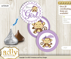 Printable  Girl Monkey Candy Kisses for Baby Girl Shower DIY Purple Grey , Polka