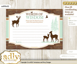 Brown Sage Deer Fawn Words of Wisdom or an Advice Printable Card for Baby Shower, Forest