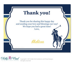 Boy Polo Thank you Card with Personalization Boy Polo Baby Shower or Birthday Card DIY