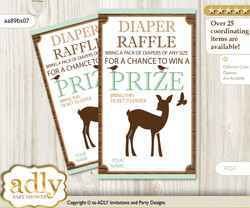 Deer Fawn Diaper Raffle Printable Tickets for Baby Shower, Brown Sage, Forest