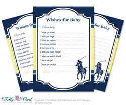 Boy Polo Wishes for a Baby Shower, Well Wishes navy yellow Baby Polo Shower DIY sport shower- ONLY digital file