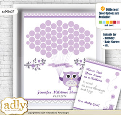 Girl Owl Guest Book Alternative for a Baby Shower, Creative Nursery Wall Art Gift, Purple Grey, Chevron