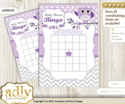 Printable Purple Grey Owl Bingo Game Printable Card for Baby Girl Shower DIY grey, Purple Grey, Chevron