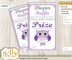 Girl Owl Diaper Raffle Printable Tickets for Baby Shower, Purple Grey, Chevron