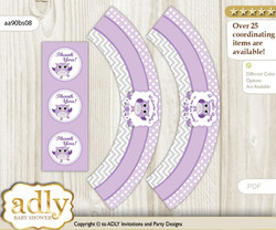 Printable Girl Owl Cupcake, Muffins Wrappers plus Thank You tags for Baby Shower Purple Grey, Chevron