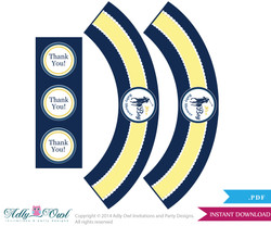 Boy Polo Cupcake Wrappers and Thank You Printable for Baby Polo Shower DIY navy yellow sport shower - ONLY digital file