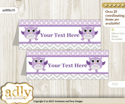 Printable Girl Owl Buffet Tags or Food Tent Labels  for a Baby Shower or Birthday , Purple Grey, Chevron