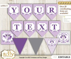 Personalized Girl Owl Printable Banner for Baby Shower, Purple Grey, Chevron