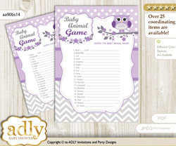 Printable Girl Owl Baby Animal Game, Guess Names of Baby Animals Printable for Baby Owl Shower, Purple Grey, Chevron