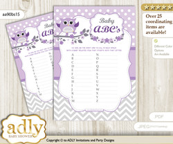 Girl Owl Baby ABC's Game, guess Animals Printable Card for Baby Owl Shower DIY – Chevron