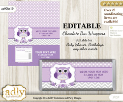 Personalizable Girl Owl Chocolate Bar Candy Wrapper Label for Girl  baby shower, birthday Purple Grey , Chevron