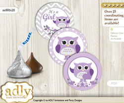 Printable  Girl Owl Candy Kisses for Baby Girl Shower DIY Purple Grey , Chevron