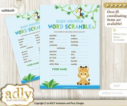 Boy Giraffe Word Scramble Game for Baby Shower