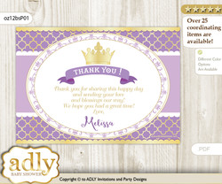 Princess Thank you Printable Card with Name Personalization for Baby Shower or Birthday Part