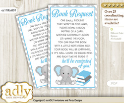 Book Instead of a Card for Boy Elephant Baby Shower or Birthday, Printable Book DIY Tickets, Chevron, Blue Grey