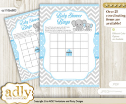 Grey Elephant Bingo Game Printable Card for Baby Boy Shower DIY grey, Blue Grey, Chevron