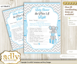 Printable Boy Elephant Price is Right Game Card for Baby Elephant Shower, Blue Grey