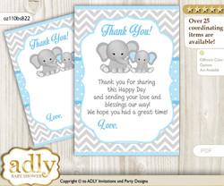 Boy  Elephant Thank you Cards for a Baby Boy Shower or Birthday DIY Blue Grey