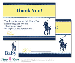 Boy Polo Thank you Card Printable for Baby Boy Shower or Birthday DIY navy yellow , sport shower