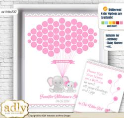 Girl Elephant Guest Book Alternative for a Baby Shower, Creative Nursery Wall Art Gift, Grey Pink, Chevron