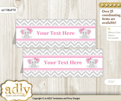 Printable Girl Elephant Buffet Tags or Food Tent Labels  for a Baby Shower or Birthday , Grey Pink, Chevron