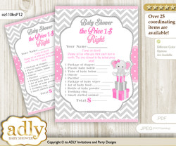 Printable Girl Elephant Price is Right Game Card for Baby Elephant Shower, Grey Pink, Chevron