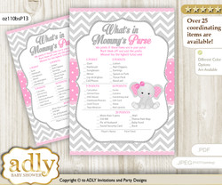 Girl Elephant What is in Mommy's Purse, Baby Shower Purse Game Printable Card , Grey Pink,  Chevron