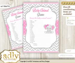 Printable Girl Elephant Baby Animal Game, Guess Names of Baby Animals Printable for Baby Elephant Shower, Grey Pink, Chevron