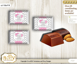 Girl Elephant Chocolate Nuggets Candy Wrapper Label for Baby Girl Shower  Grey Pink , Chevron